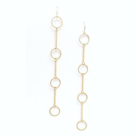 Circles and Lines - Brass Circle and Chain Earrings