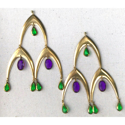 Jewel - Brass V-Shaped Medallions and Vintage, Gem Earrings