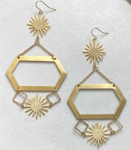 Empress' Paradise - Gold-Plated Sun and Multi-Shape, Brass, Dangle Earrings