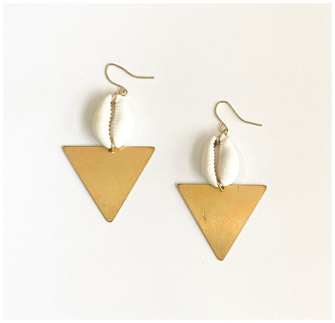 Currency - Brass and Cowrie Shell Earrings