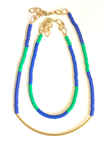 Vivid - Polymer Clay, Beaded Necklace Set, With Removable, Brass Tubes