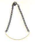 Linked - Black Chain and Curved, Brass, Tube Necklace