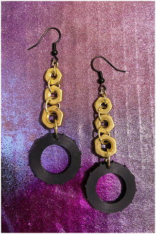 Building - Brass Nuts and Rubber Washer Earrings