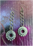 Pivot - Metal Washer (in silver) and Chain Earrings