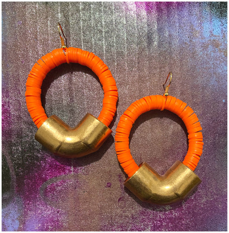 High Visibility - Copper Elbow Fittings and Polymer Clay, Bead Earrings