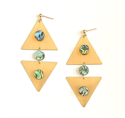 Abalone Connection - Brass Triangle Earrings With Abalone Beads