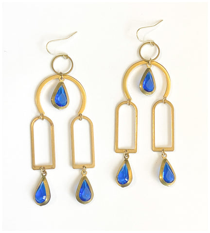 At My Window - Gold-Plated and Brass Earrings With Vintage Gems