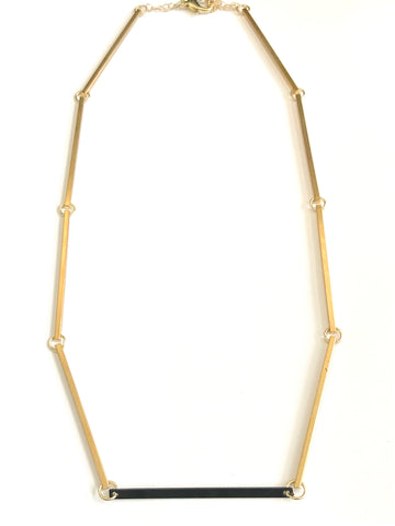 Raise the Bar - Mixed Metal, Bar Necklace