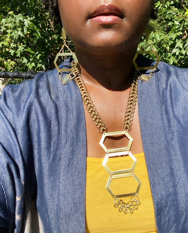 Unexpected - Brass Hexagon and Antiqued-Bronze, Mesh Chain, Adjustable Necklace