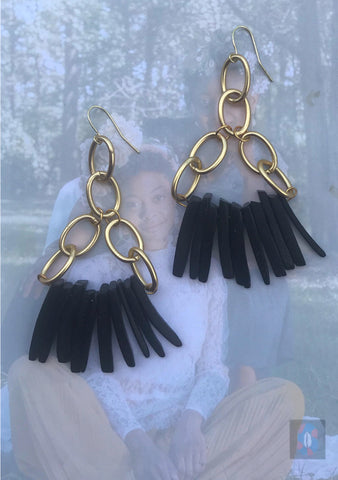 """Rhythm"" Brushed-Gold Chain and Wood Spike Earrings (In Black or Blue)"