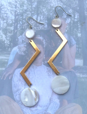 """The Storm"" Shell Beads and Zig-Zag, Gold-Plated Earrings"