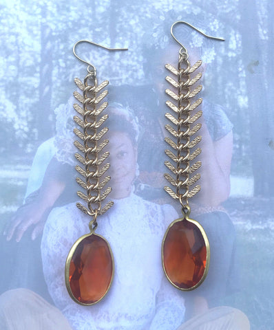 """Beauty"" Amber-Colored, Vintage Gem and Fishtail, Wire Earrings"