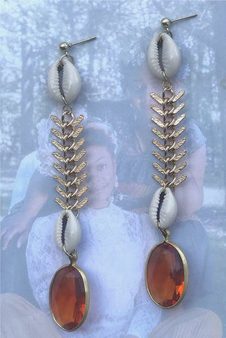 """Soul"" Fishtail Chain, Cowrie Shell, and Vintage, Gem Earrings"