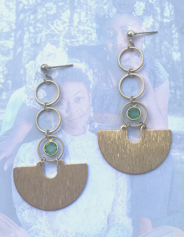 """The Calm"" Brass and Vintage Gem Earrings"
