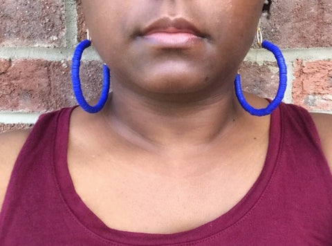 """Vibrant"" Polymer Clay and Brushed-Gold, Half-Hoop Earrings"