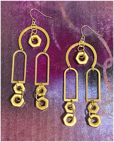 Hardware - Brass and Brass Nuts, Dangle Earrings