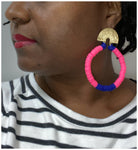 Highlight - Polymer Clay Bead and Gold-Plated, Medallion, Hoop Earrings