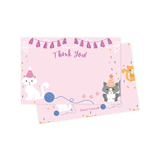 Cat Kitten Thank You Cards (25 Count) With Envelopes and Seal Stickers Bulk Birthday Party Bridal Blank Graduation Kids Children Boy Girl Baby Shower (25ct)