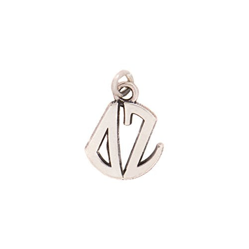 Delta Zeta Sorority 1/2 Inch Sterling Silver Drop Monogram Charm with Engraved Letters Officially Licensed Necklace dz
