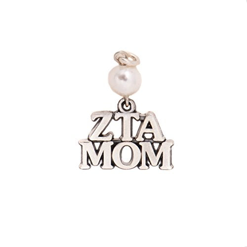 Zeta Tau Alpha Sorority Mom Charm with Pearl Sterling Silver 18 Inches Necklace ZTA