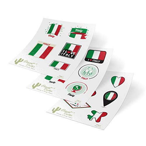 Italy Country Flag Stickers Decals Kids Logo Scrapbook Car Vinyl Window Bumper Laptop (3 Sheets)