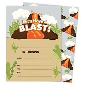 Volcano 1 Happy Birthday Invitations Invite Cards (25 Count) With Envelopes and Seal Stickers Vinyl Girls Boys Kids Party (25ct)