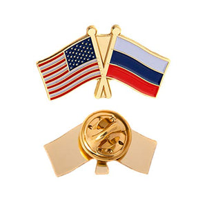 Russia Country Lapel Enamel with United States USA Souvenir Hat Men Women Patriotic Russian (Double Flag Pin)