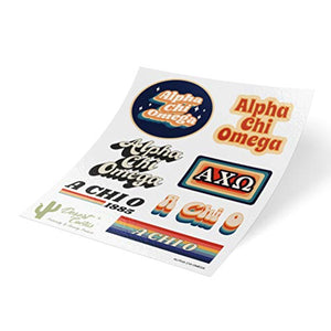 Alpha Chi Omega 70's Themed Sticker Sheet Decal Laptop Water Bottle Car (70's Sheet)
