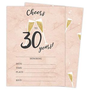30th Birthday Style R Happy Birthday Invitations Invite Cards (25 Count) With Envelopes and Seal Stickers Vinyl Girls Boys Kids Party (25ct)