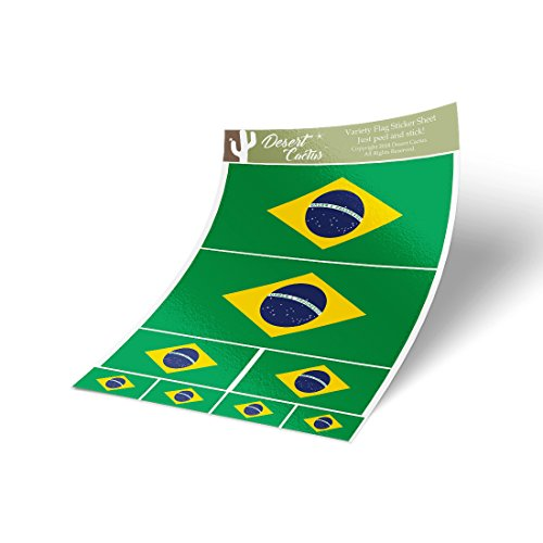 Brazil Country Flag Sticker Decal Variety Size Pack 8 Total Pieces Kids Logo Scrapbook Car Vinyl Window Bumper Laptop Brazilian V