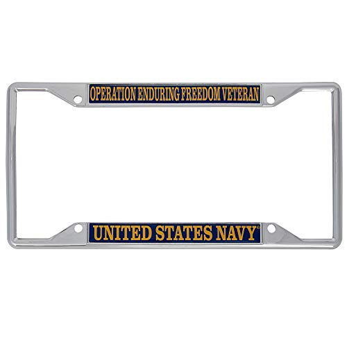 US Navy Operation Enduring Freedom Veteran License Plate Frame For Front Back of Car Officially Licensed United States