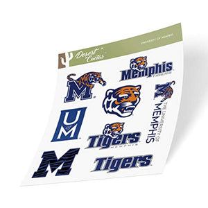 University of Memphis Tigers NCAA Sticker Vinyl Decal Laptop Water Bottle Car Scrapbook (Type 2 Sheet)