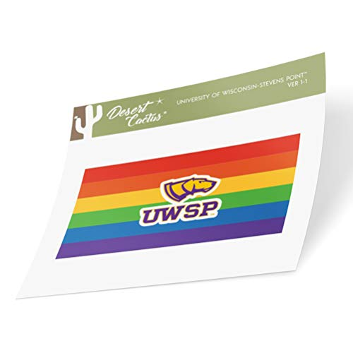 University of Wisconsin-Stevens Point UWSP Pointers NCAA Vinyl Pride Decal Laptop Water Bottle Car Scrapbook (Gay Flag Logo Sticker)