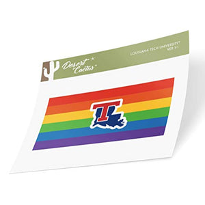 Louisiana LA Tech University Bulldogs NCAA Vinyl Pride Decal Laptop Water Bottle Car Scrapbook (Gay Flag Logo Sticker)