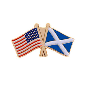 Scotland Country Lapel Enamel with United States USA Souvenir Hat Men Women Patriotic (Double Flag Pin)