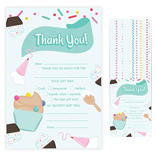 Cupcake Fill In Thank You Cards (25 Count) With Envelopes Bulk Birthday Party Kids Children Boy Girl (25ct. Fill Thank You)