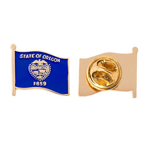 Oregon OR State Enamel Made of Metal Souvenir Hat Men Women Patriotic (Waving Flag Lapel Pin)