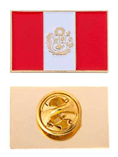 Peru Country Flag Lapel Enamel Made of Metal Souvenir Hat Men Women Patriotic (Rectangle Pin)