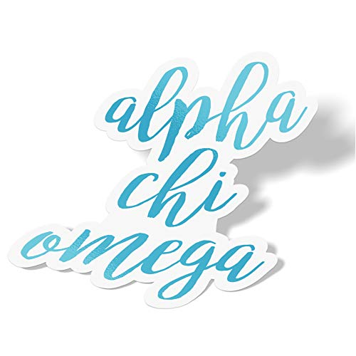 Alpha Chi Omega Cursive Word Sticker Decal Greek for Window Laptop Computer Car Alpha Chi AXO