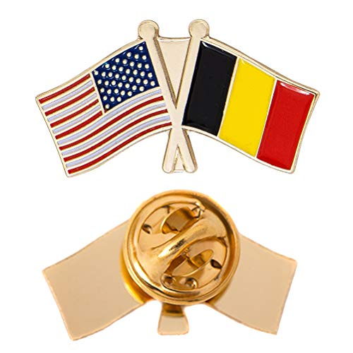 Belgium Country Lapel Enamel with United States USA Souvenir Hat Men Women Patriotic (Double Flag Pin)