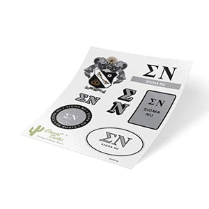Sigma Nu Standard Sticker Sheet Decal Laptop Water Bottle Car Sig Nu (Full Sheet - Standard)