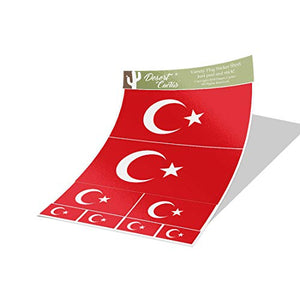 Turkey Country Flag Sticker Decal Variety Size Pack 8 Total Pieces Kids Logo Scrapbook Car Vinyl Window Bumper Laptop V