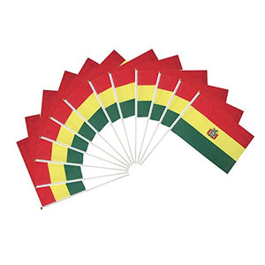 Bolivia Polyester Country Flags Desk Outside Waving Parade Bolivian (12-Pack Hand Flag)
