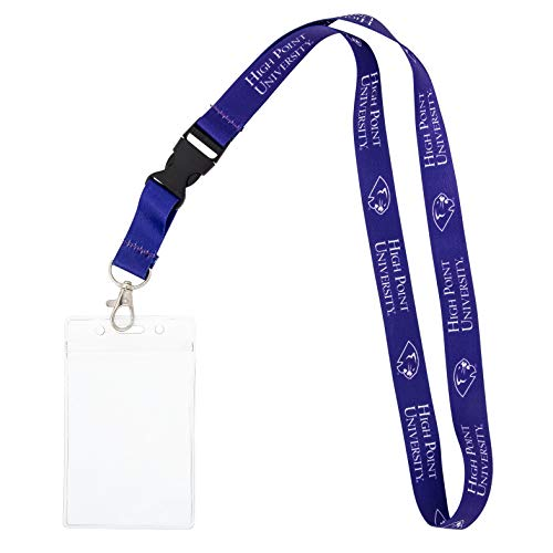 High Point University HPU Panthers NCAA Car Keys College ID Badge Holder Lanyard Keychain (w/ Pouch)