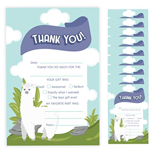 Alpaca Thank You Cards (10 Count) With Envelopes Bulk Birthday Party Bridal Blank Graduation Kids Children Boy Girl Baby Shower (10ct. Fill-In Thank You)