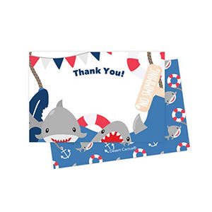 Shark Thank You Cards (25 Count) With Envelopes and Seal Stickers Bulk Birthday Party Bridal Blank Graduation Kids Children Boy Girl Baby Shower (25ct)