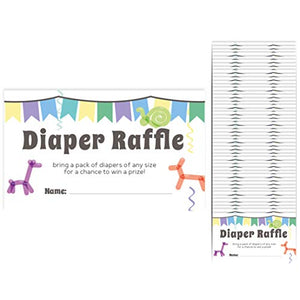 "Baby Shower Diaper Raffle Cards 50-Pack Tickets 2.25"" x 3"" Girl (Balloon Animals)"