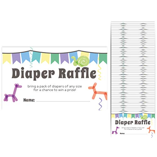 Baby Shower Diaper Raffle Cards 50-Pack Tickets 2.25