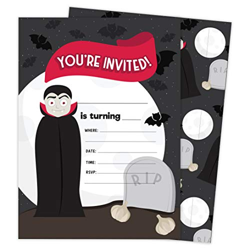 Vampire 1 Happy Birthday Invitations Invite Cards (25 Count) With Envelopes and Seal Stickers Vinyl Girls Boys Kids Party (25ct)