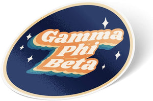 Gamma Phi Beta 70's Sticker Decal Greek for Window Laptop Computer Car (Design 1)